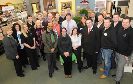 Exhibitors at the York Lifesyle Event at Dean's Garden Centre with Coun James Alexander, third from right on front row, and Jason Chinnian, sixth from right, of The Press.